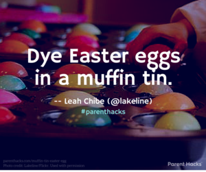 Dye Easter eggs in a muffin tin. #parenthacks #Easter
