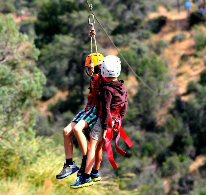 Kids on a zip line