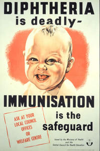 """""""Diphtheria vaccination poster"""". Licensed under Public Domain via Wikimedia Commons - http://commons.wikimedia.org/wiki/File:Diphtheria_vaccination_poster.jpg#mediaviewer/File:Diphtheria_vaccination_poster.jpg"""