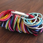 Store hairbands on a carabiner