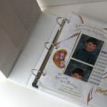 Organize school portraits in a three-ring binder