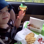 Magna Doodle doubles as car food tray