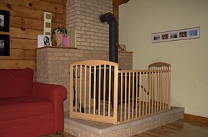 Crib turned into baby gate