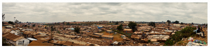 Nairobi, Kenya - July 21, 2011: View of Kibera from the railroad tracks. Photographed by Morgana Wingard.