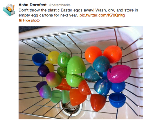 Don't throw the plastic Easter eggs away! Wash, dry, and store in empty egg cartons for next year.