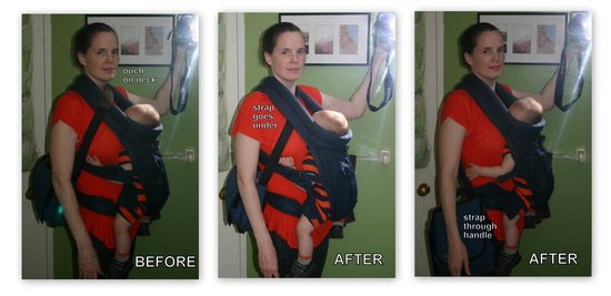 How to comfortably carry a diaper bag while wearing a baby carrier