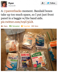 Bandaid boxes take up too much space, so I put just front panel in a baggie w/the band aids.