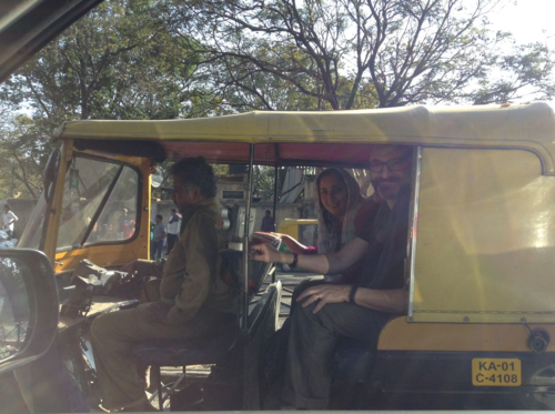 Rael and me in a rickshaw in Bangalore