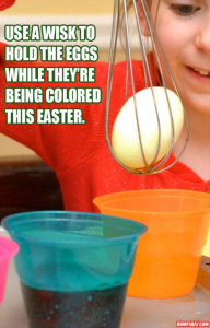 Use a wisk to hold the eggs while they're being colored this Easter (DumpADay)