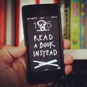 """""""Read A Book Instead"""" iPhone lock screen wallpaper by Austin Kleon. [free download]"""