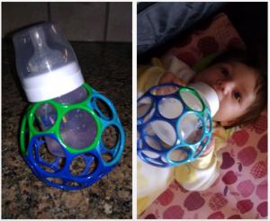 DIY bottle holder lets babies feed themselves. Photo credit: sueb262/Instructables #parenthacks